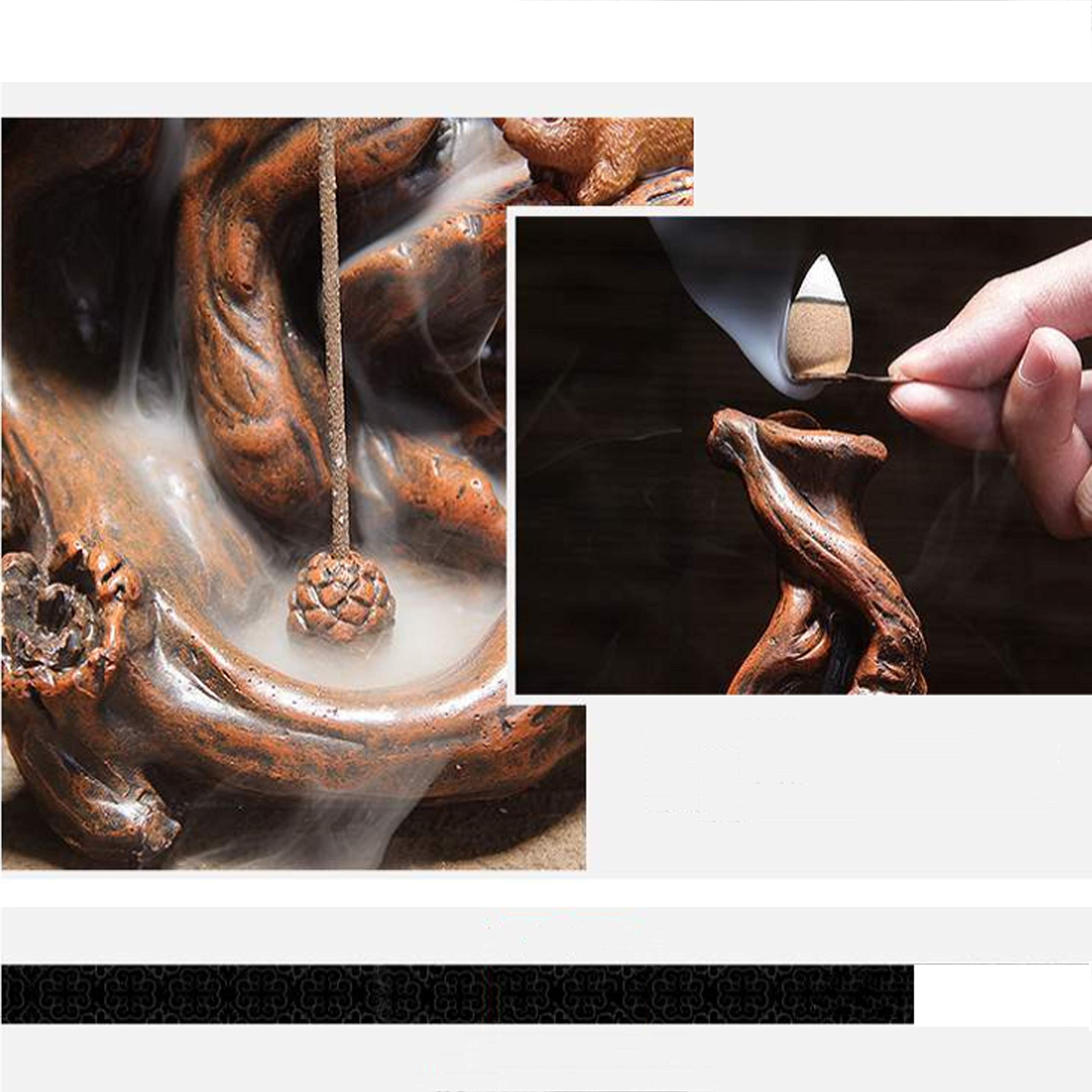 QIAN SHENG Backflow Incense Burner Incense Holder Ceramic Waterfall Incense Holder Home Decor Aromatherapy Ornament by QIAN SHENG (Image #9)