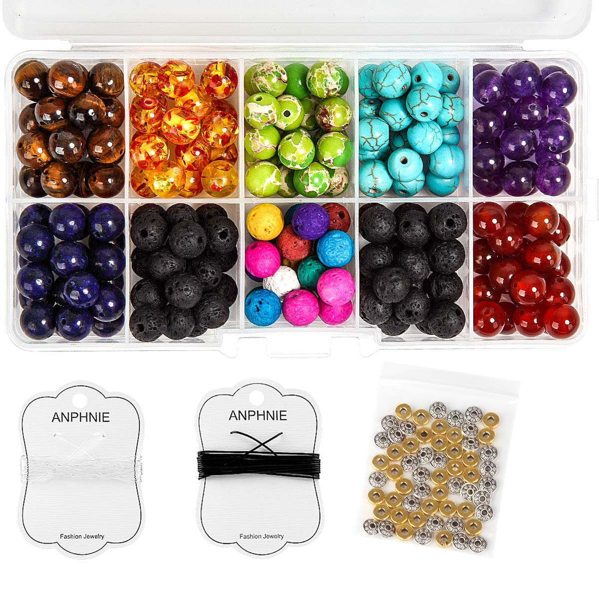 Lava Beads Kit for Essential Oils - 260pcs Assorted Colorful Natural Chakra Beads, Colored Loose Volcanic Lava Rock Stone Beads Balls, Spacer Beads for Jewelry Making US Beads Supplies