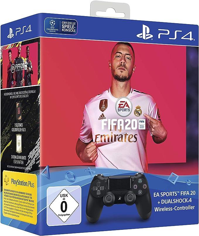 PlayStation 4 - DualShock 4 Wireless Controller (schwarz) inkl. FIFA 20 [Importación alemana]: Amazon.es: Electrónica