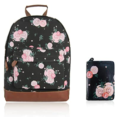 Craze London New Childrens Designer Style Canvas BLOSSOM FLOWER Print  Backpack Bag With Matching Purse- d4385b8f301d4