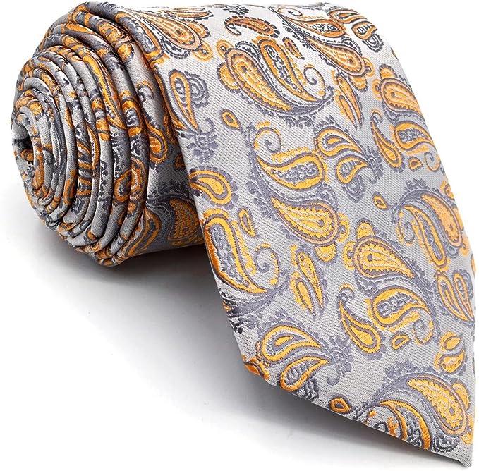 shlax&wing Nuevo Cachemir Corbatas Para Hombre Plateado Naranja ...