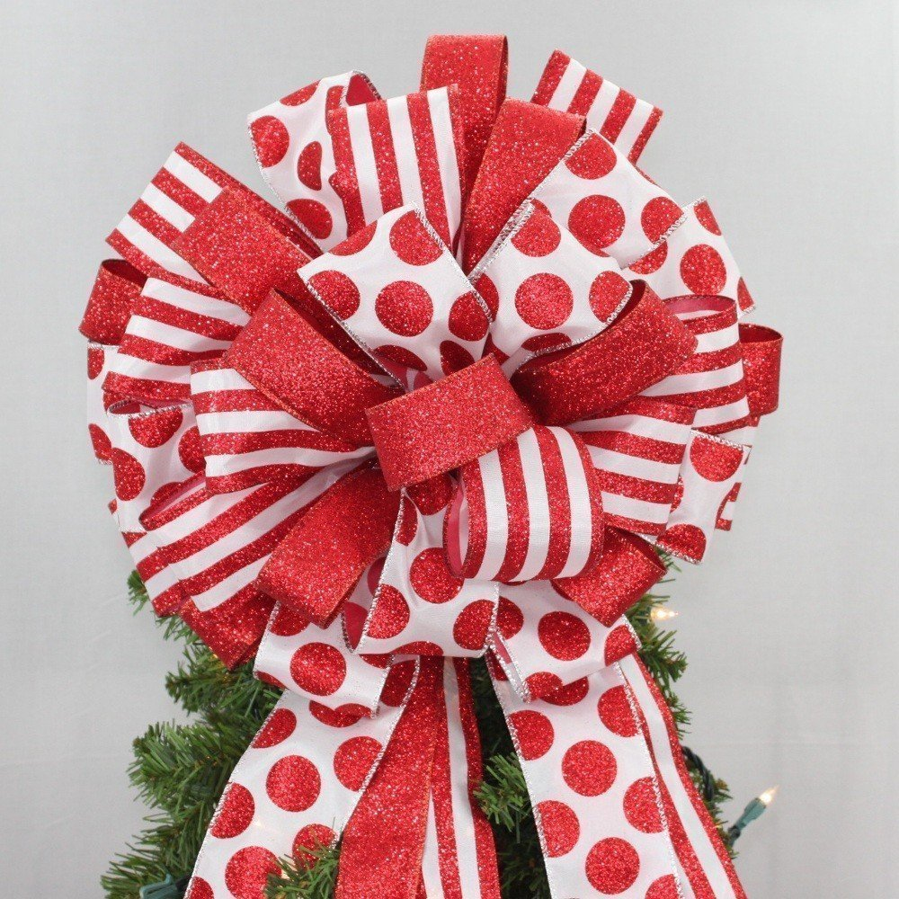 Red Dot Stripe Glitter Christmas Tree Bow Topper - available in 2 sizes