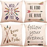 ZUEXT Decorative Boho Arrows Throw Pillow Covers 18 x 18 Inch 2 Side Print with Blessed Words Wild & Free Follow Your…