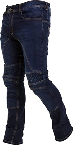 Qaswa Uomo Moto Biker Jeans Protezione Motorcycle Pantaloni Rinforzato Slim Fit Armature Pants