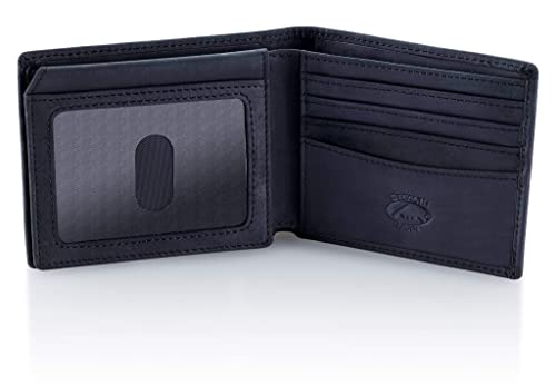 f3760910795a Stealth Mode Leather Bifold Wallet for Men With ID Window and RFID Blocking