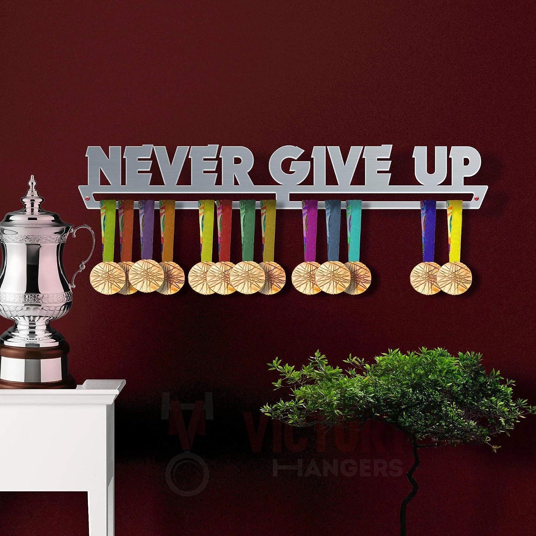Never Give Up Medal Hanger Display