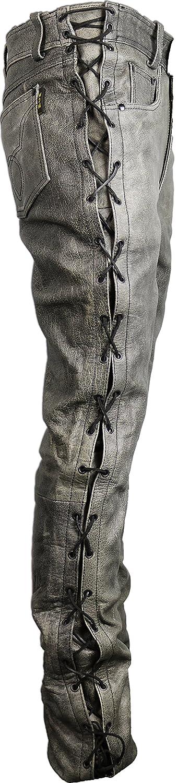 MDM Motorrad Lederhose an den seiten geschn/ürt in grau 34