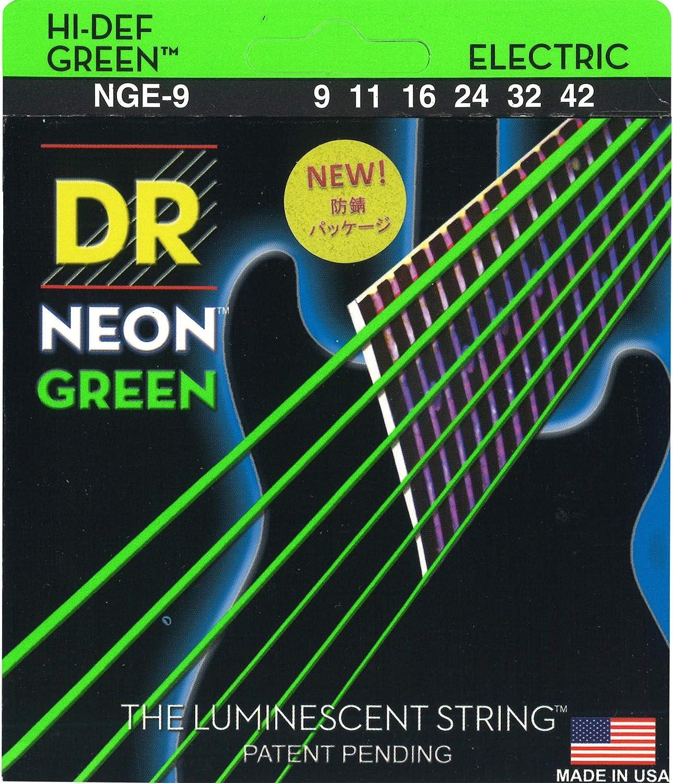 DR String NGE-9 Neon Green Juego Cuerdas Eléctrica
