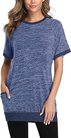 Sykooria Camiseta de Manga Corta para Mujer Blusa Cuello Redondo Camisa básica Casual Suelto Pullovers Tops de Verano Jerséis para Señoras con Bolsillos