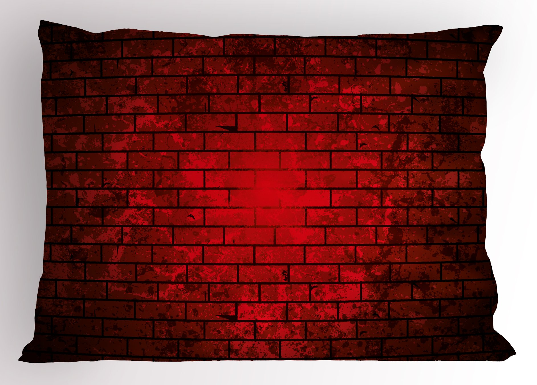 Lunarable Maroon Pillow Sham, Dark and Grunge Brick Wall Stained Display Vibrant Vintage Design Vignette Effect, Decorative Standard Queen Size Printed Pillowcase, 30 X 20 inches, Maroon Black