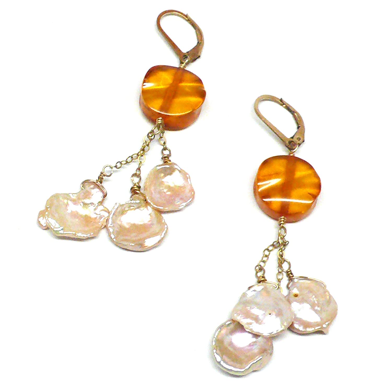 Baltic Amber Coin Cultured Petal Pearl Cluster Drop Gold-Filled Earrings