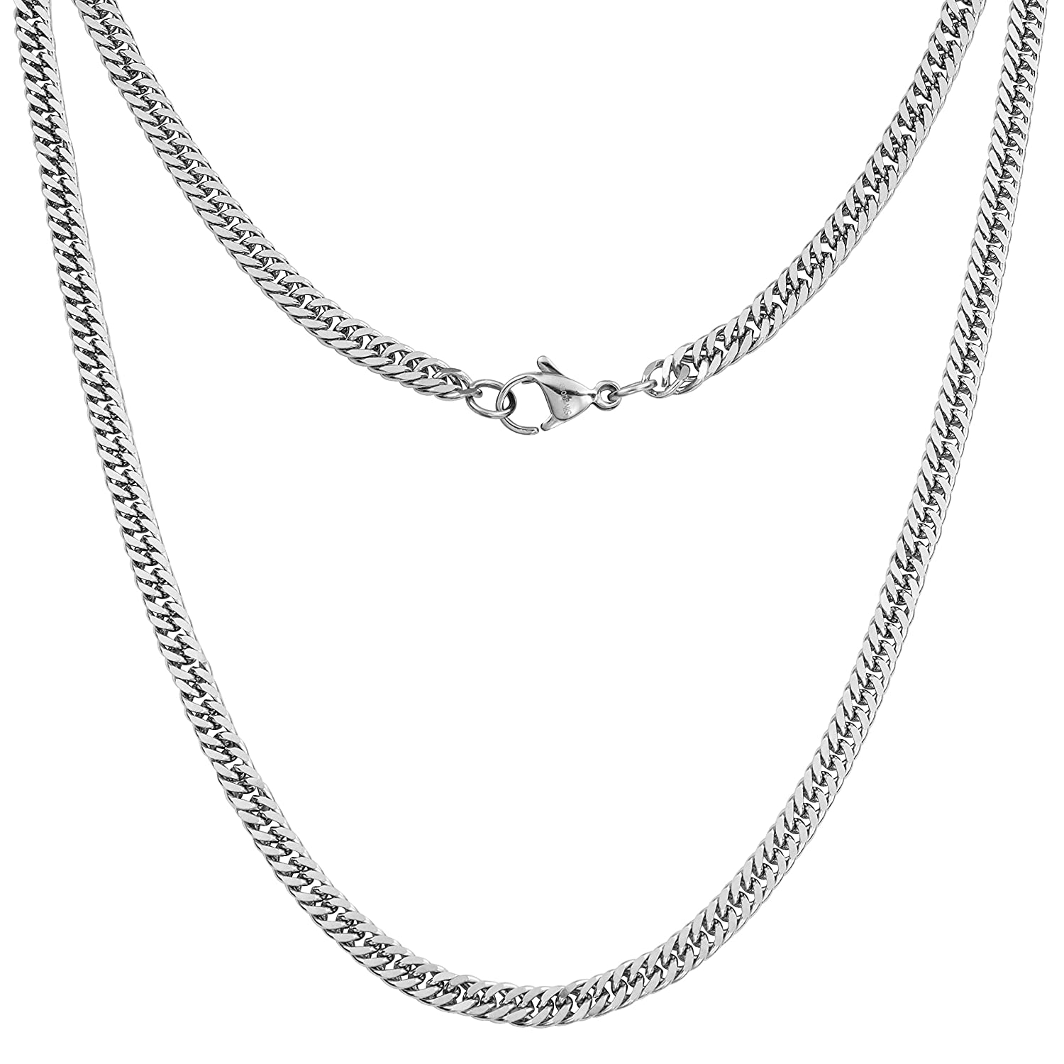7075cafc789dd5 Silvadore 4mm CURB Mens Necklace Silver Chain - Stainless Steel Jewellery -  Neck Link Chains for Men Man Women Boys Kids Girls - 14