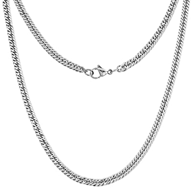 5fdee50766d9 Silvadore 4mm CURB Mens Necklace Silver Chain - Stainless Steel Jewellery -  Neck Link Chains for Men Man Women Boys Kids Girls - 14