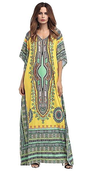 GLADTHINK Mujer Verano Africano Cultural Estilo Murciélago Mangas Playa Vestir Blusa Amarillo: Amazon.es: Ropa y accesorios
