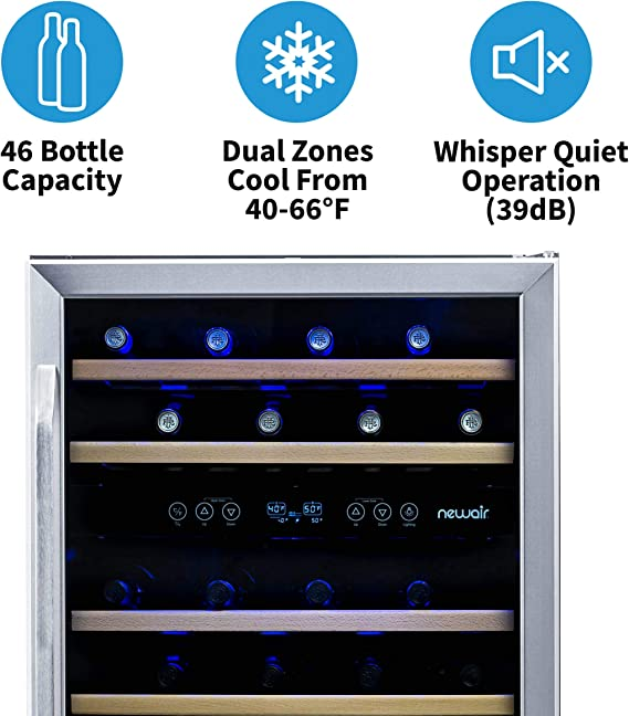 Dual Zone 46 Bottle Capcity Fridge with Triple-Layer Tempered Glass Door NewAir Built-In Wine Cooler and Refrigerator AWR-460DB