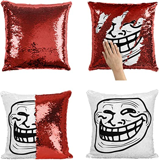 Amazon.com: Troll Meme Head_P259 almohada de lentejuelas ...