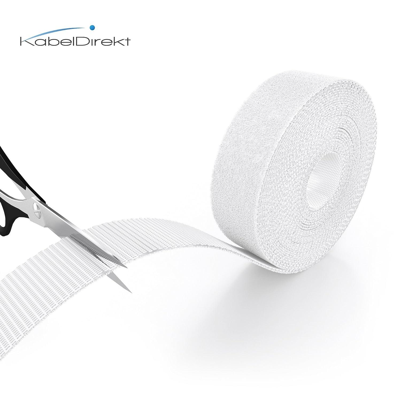 r/éutilisable, blanc KabelDirekt 20 mm x 5 m Ruban serre-c/âble