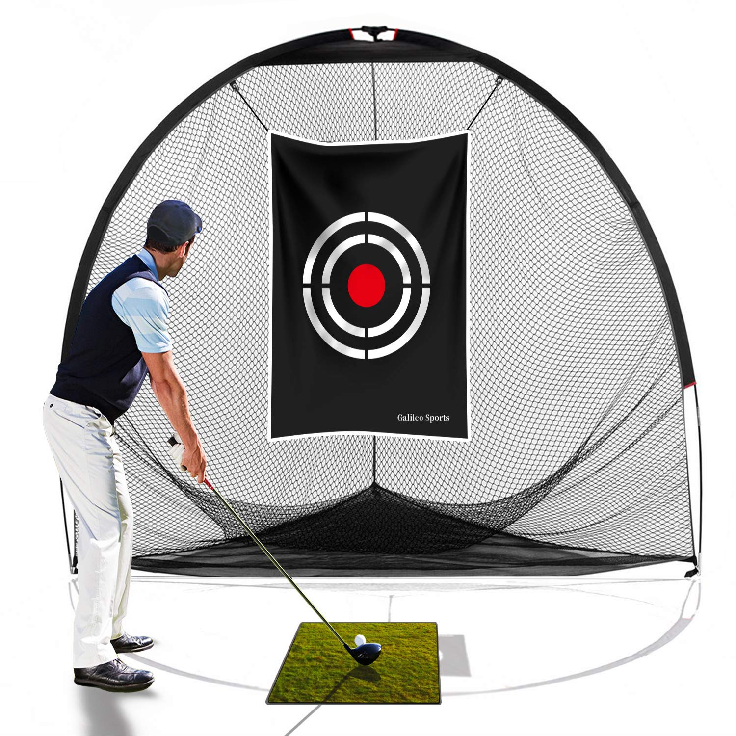 Galileo Golf Nets Golf Practice Net Hitting Netting for Backyard Portable Driving Range Golf Cage Indoor Golf Net Training Aids with Target 8'x7'x7' by GALILEO