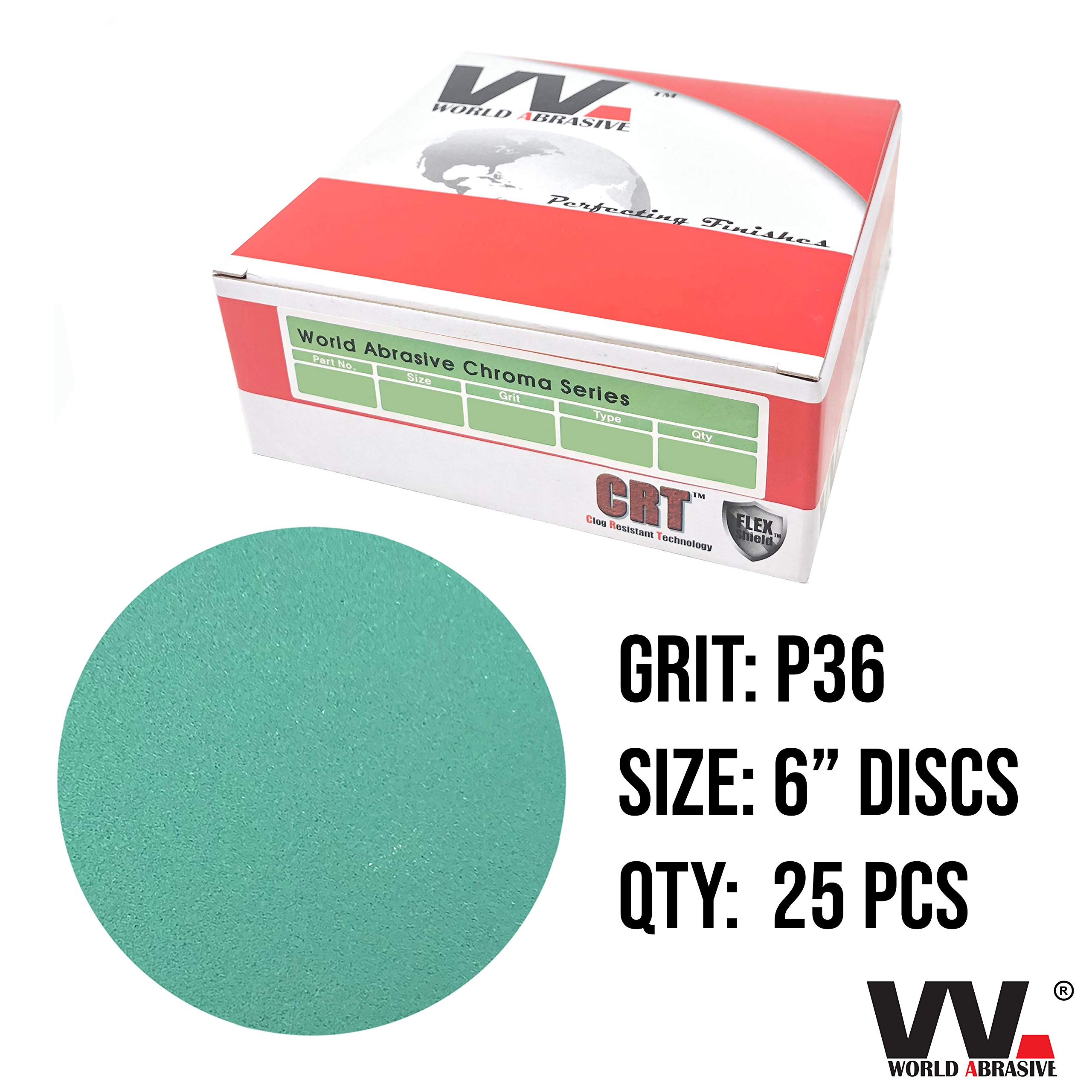 World Abrasive - Premium (Wet/Dry) - 36 Grit 6 inch No Hole Film Hook and Loop Back Sanding Discs for Orbital Sanders - Box of 25 Sandpaper Discs (Automotive, Marine, Aircraft, Wood, Metal) by World Abrasive
