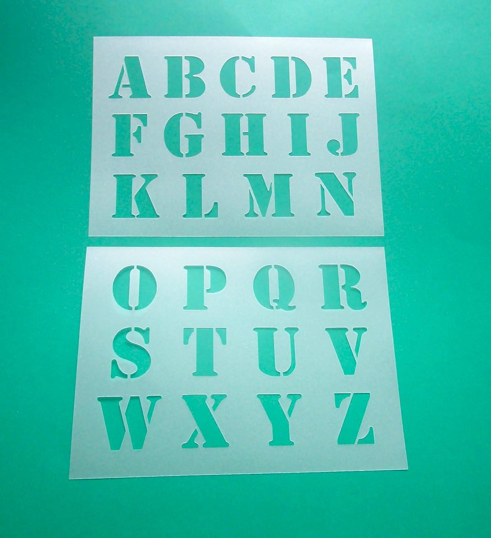 Alphabet - große Druck Buchstaben 5cm hoch 2 Schablonen: Amazon.de ...