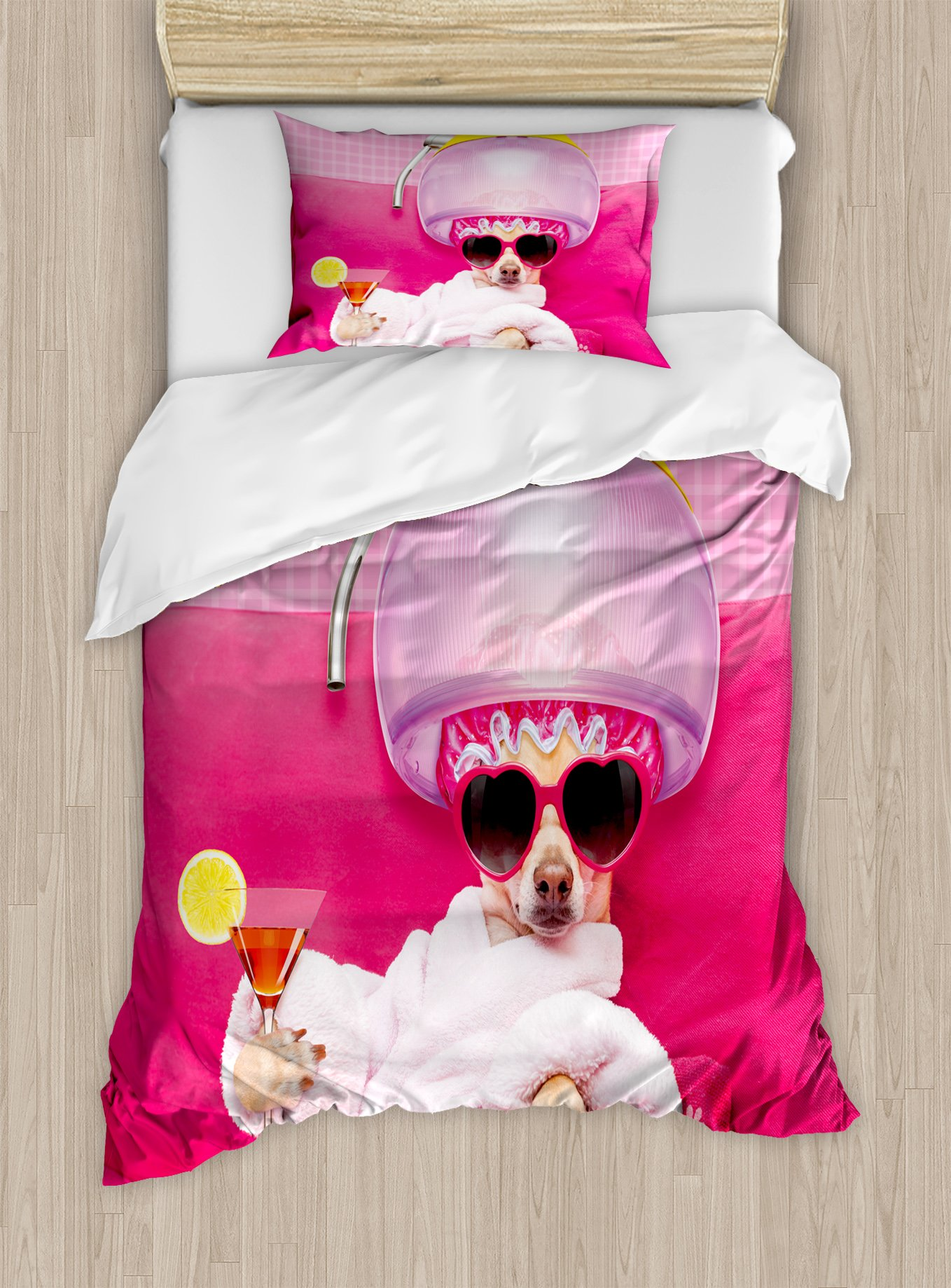 Ambesonne Funny Duvet Cover Set Twin Size, Chihuahua Dog Relaxing and Lying in Wellness Spa Fashion Puppy Comic Print, Decorative 2 Piece Bedding Set with 1 Pillow Sham, Magenta Baby Pink