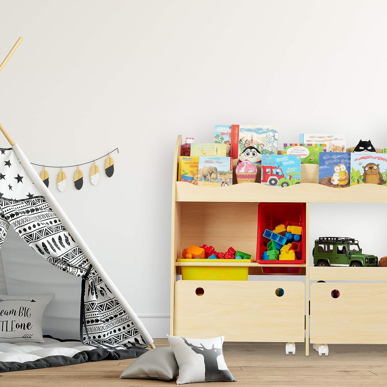 Relaxdays Beige Librer/ía Infantil 88 x 108 x 29 cm Guarda Juguetes con Cajas Almacenaje Estanter/ía para Ni/ños DM