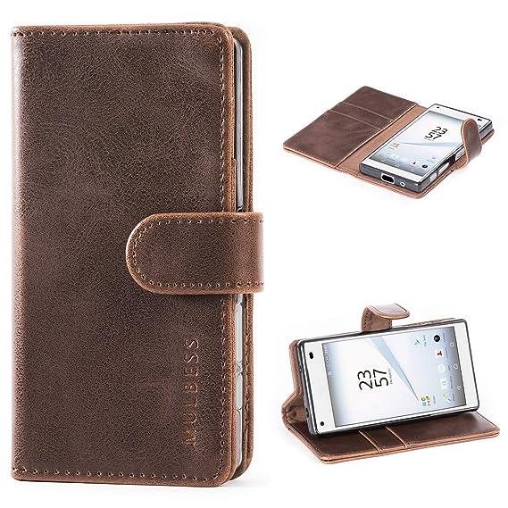 Mulbess (Vintage bookstyle) Premium Handy Schutzhülle Ledertasche im Kartenfach für Sony Xperia Z5 Compact Tasche Hülle Leder