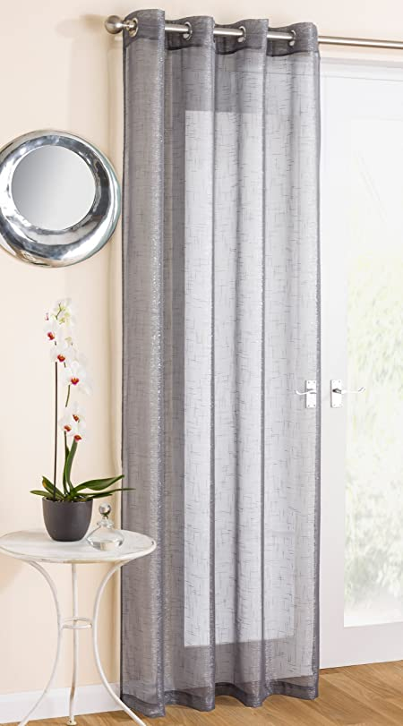 Grey Sparkle Voile Curtain Panel Eyelet Heading 54\