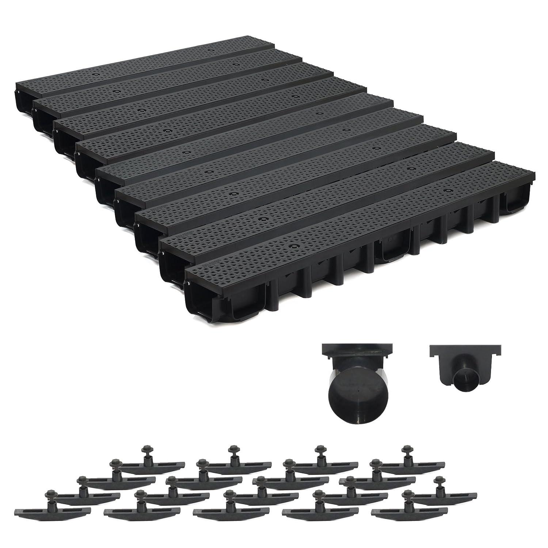 9m Entwässerungsrinne für modulares System A15 98mm, komplett Stegrost Kunststoff , Schwarz Decor