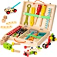 KIDWILL Tool Kit for Kids, Wooden Tool Box with 33pcs Wooden Tools, Building Toy Set, Educational STEM Construction Toy,Chris