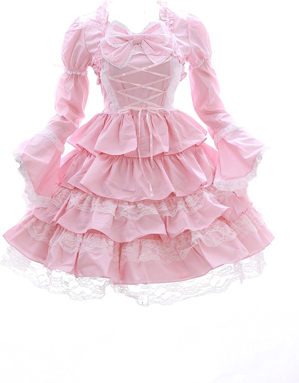 JL-627-1 rosa Klassik Gothic Schleife Lang Kurz Arm  Lolita Kleid Kostüm Cosplay