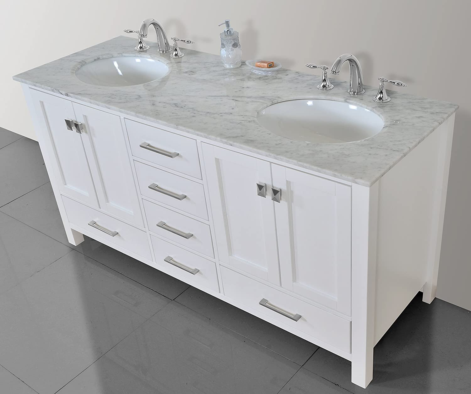 Awesome Stufurhome GM 6412 72PW CR 72 Inch Malibu Pure White Double Sink Bathroom  Vanity     Amazon.com