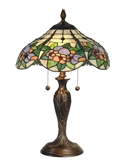Dale tiffany tt90179 chicago table lamp antique bronze and art glass shade