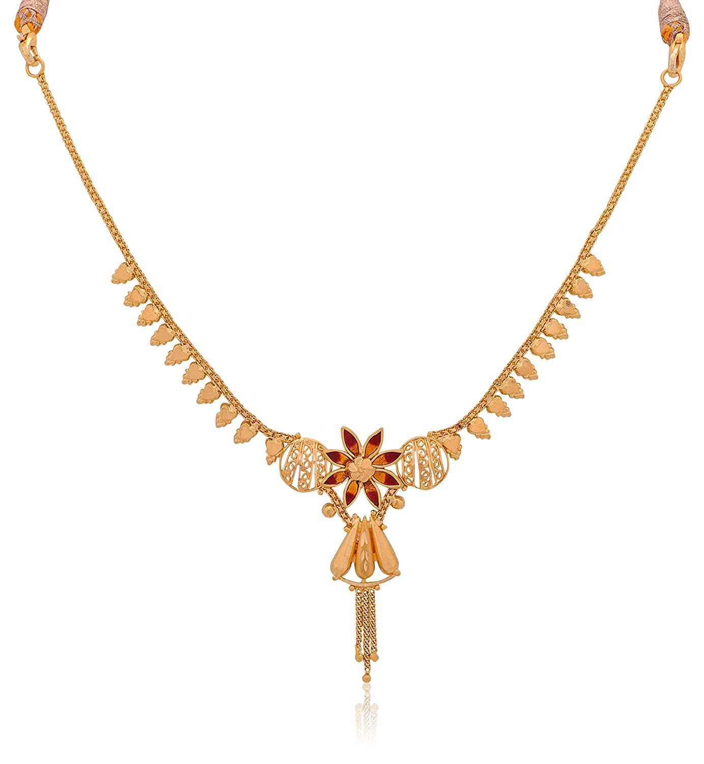 Buy Senco Gold 22k Yellow Gold Multi-Strand Necklace Online at Low ...