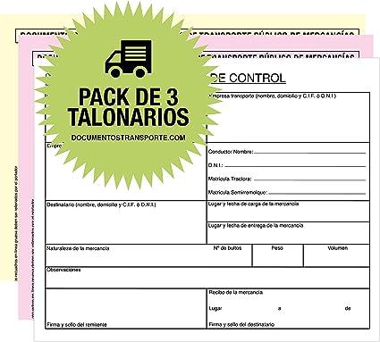 Pack 3 Talonarios CARTA DE PORTE NACIONAL Autocopiativos A5-3 ...