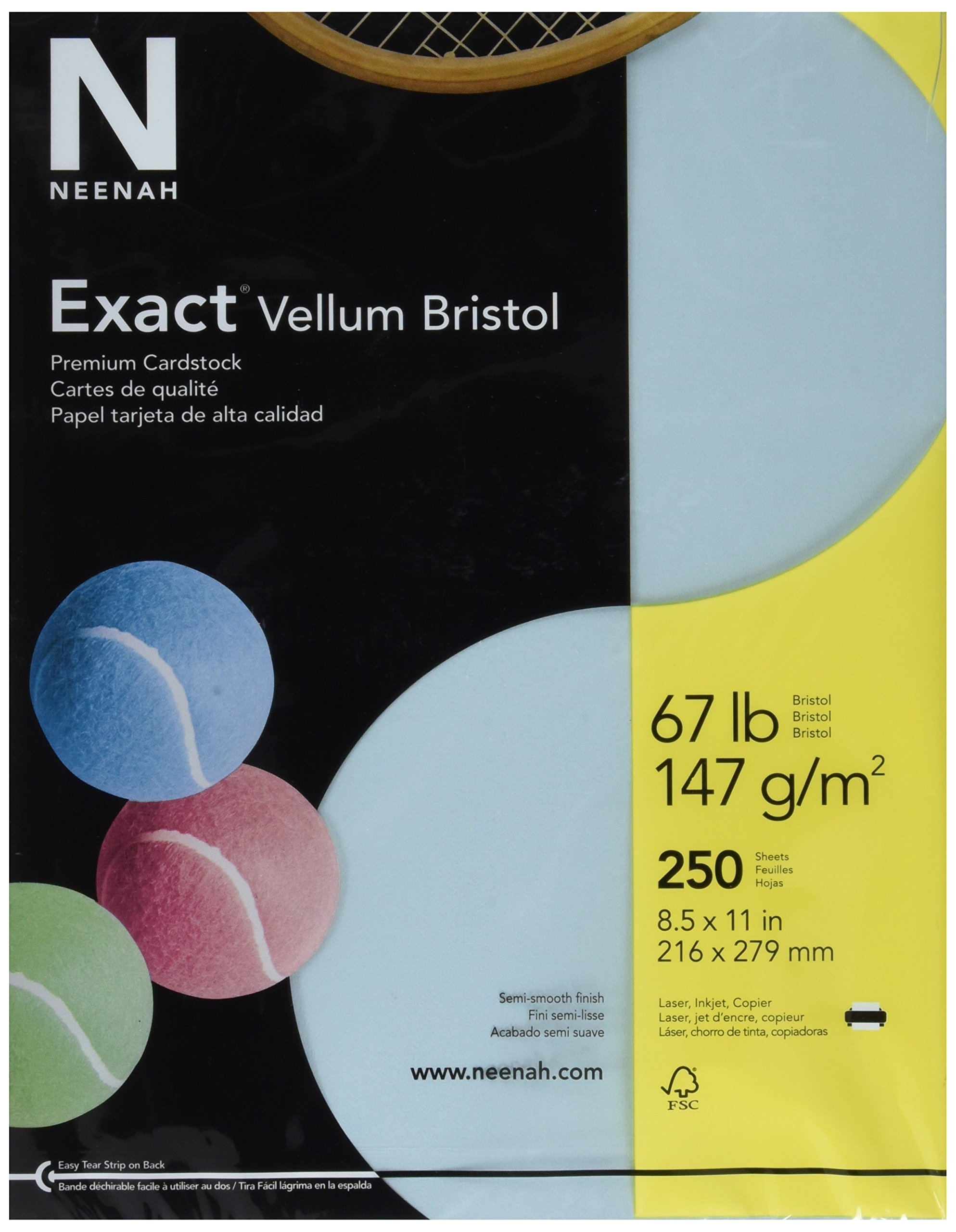 Exact 81328 Vellum Bristol Paper, 67 lb, 2.1'' Height, 8.5'' Width, 11'' Length, Blue (Pack of 250) by Exact