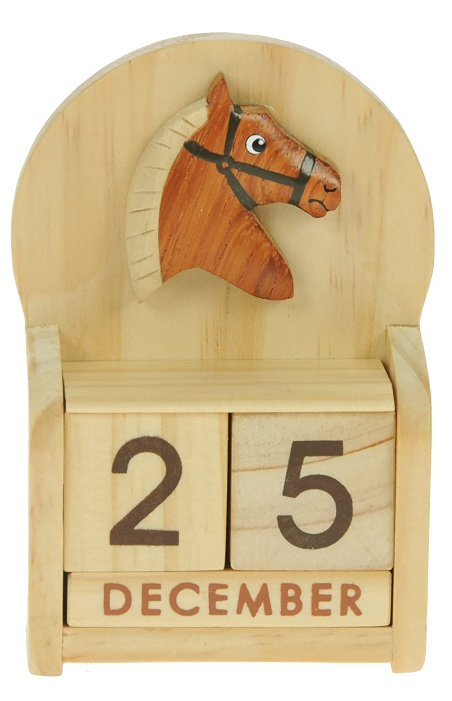 Cheval : Calendrier Perpétuel en Bois : traditionnel fait main cadeau d'anniversaire et de Noël Idées cadeau de Noël : Taille : 10, 5 X 7 X 3, 5 Cm : achetez un insolite et Quirky Alternative à un calendrier de l'avent : unique et fantaisie cadeau : cadeau