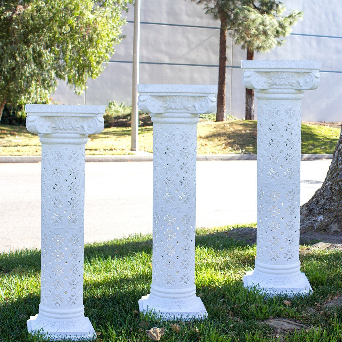 4pcs Height Adjustable Plastic Roman Column photography prop Wedding Decorative by backdropshop