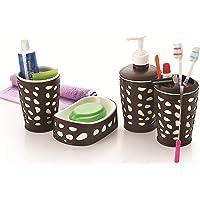Liza 4 Piece Bathroom Accessories Set - Soap Dispenser, Toothbrush Holder, Soap Dish & Tumbler (A91WB02)
