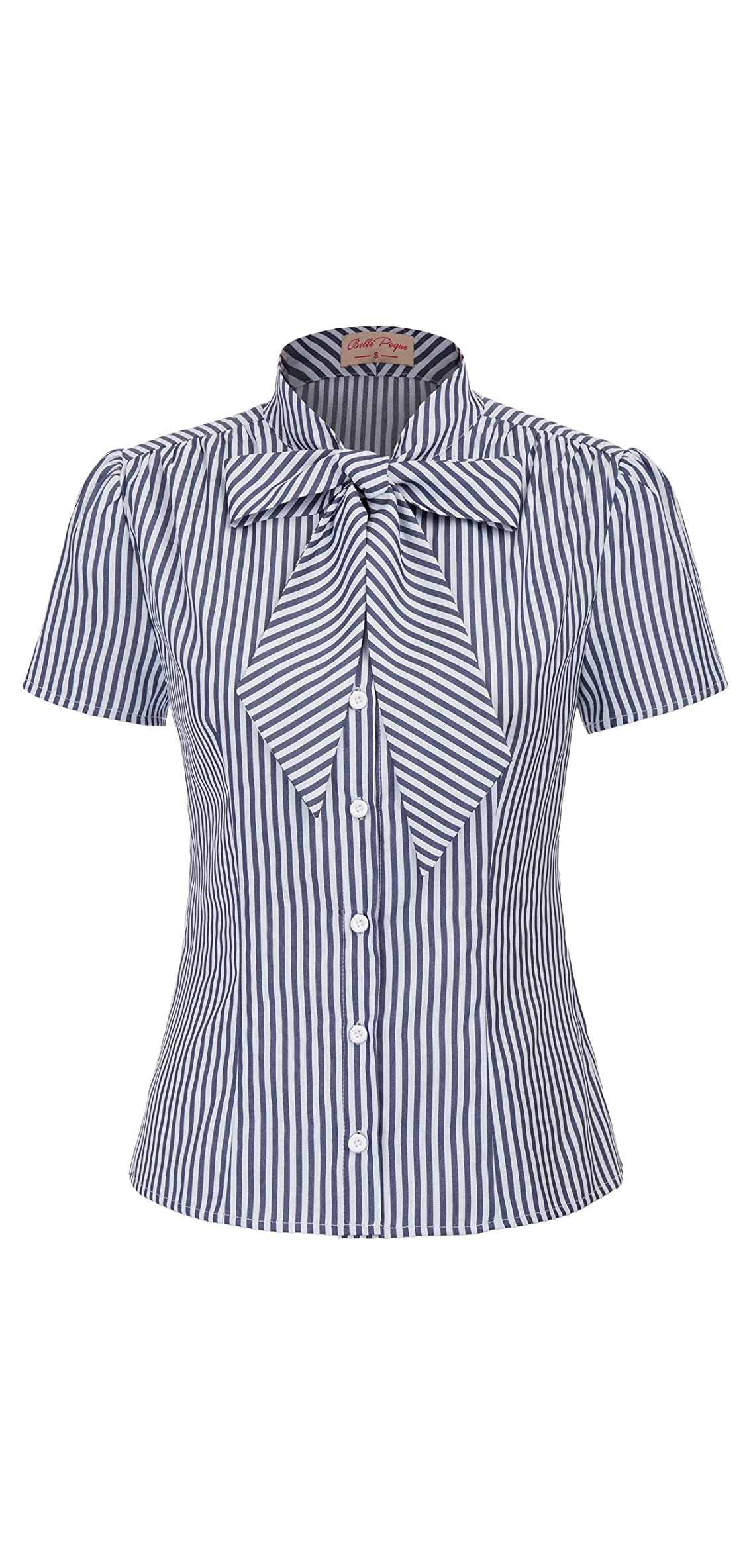 Summer Short Sleeve Office Button Down Blouse Stripe