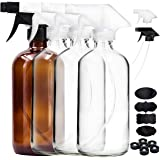 Youngever 4 Pack Empty Glass Spray Bottle, 16 Ounce Clear Glass Spray Bottle (3 Pack), 16 Ounce Amber Glass Spray Bottles for Essential Oils (1 Pack), with Extra Durable Trigger Sprayers