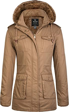 Wantdo Mens Thicken Cotton Parka Jacket Casual Winter Coat with Removable Hood