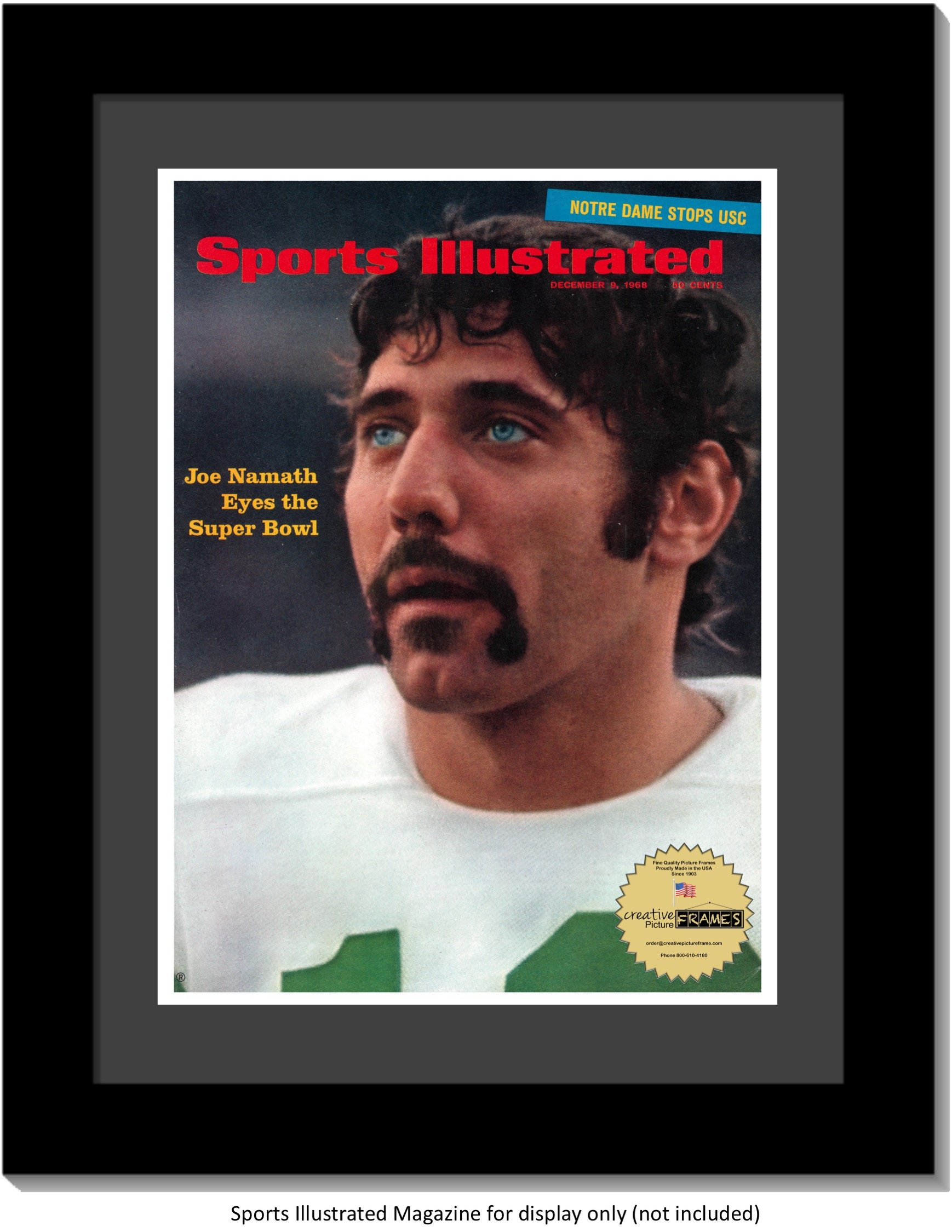 CreativePF [1114bk-b] Collectors Edition Sports Illustrated Frame, Displays up to 1970 Magazines Measuring 8 1/4 by 11-inches w/Black Mat-Measure Your Magazine