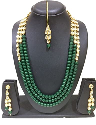 ceba12423ff Buy CATALYST Green Pearl Kundan Necklace Rani Haar with Earrings for Women  Online at Low Prices in India