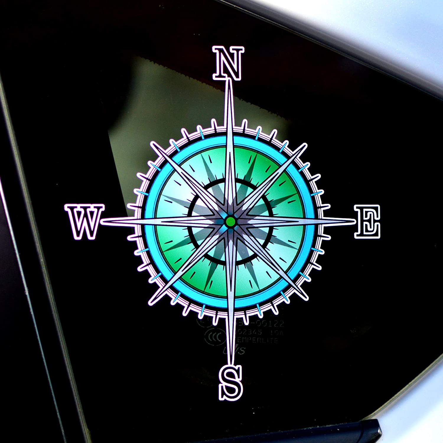 Byzee Compass Rose Decal - Vinyl Nature Map Sticker - Car/Truck Window