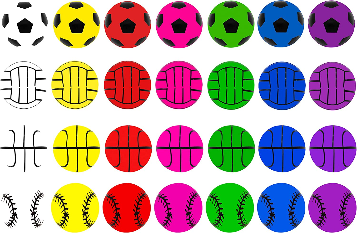Gift /& Game Prize Kids Bouncy Balls for Class Exchange 28 Packs Kids Valentine Party Favors Set with Sports Ball Bouncy Balls Filled Hearts and Valentine Cards for Kids Valentine Classroom Exchange