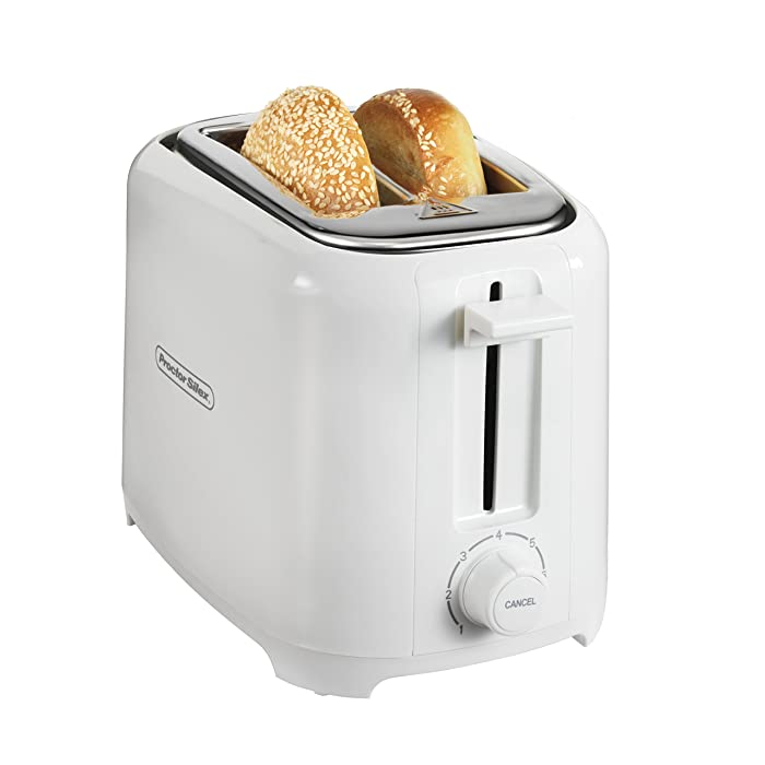 Proctor Silex 22216 Toaster with Wide Slots & Toast Boost, 2-Slice, White