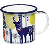 Folklore Enamel Mug, Day Design, White, (14 Ounces)