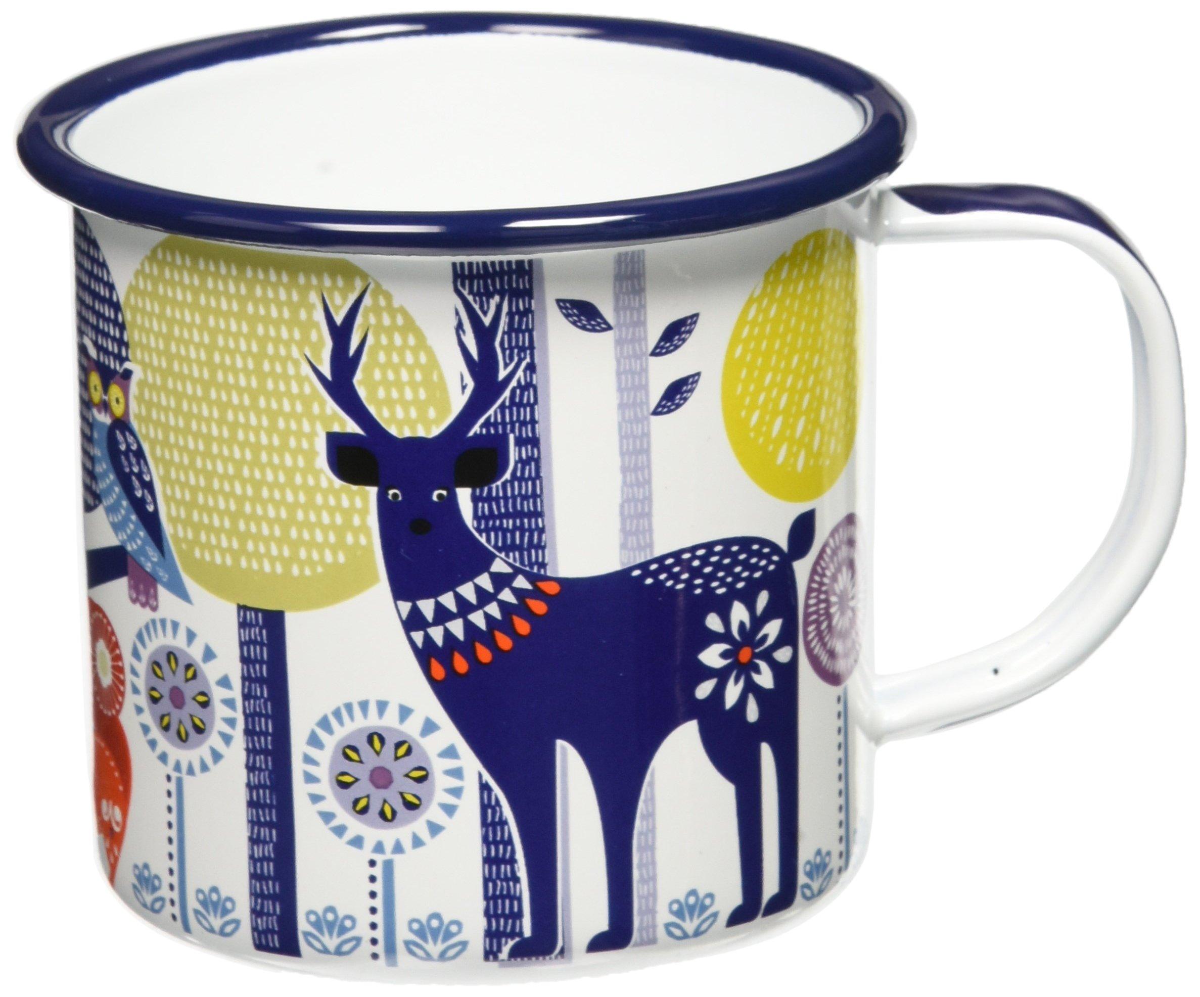 Folklore Enamel Camping Coffee Mug, Day Design, White, (14 Ounces)