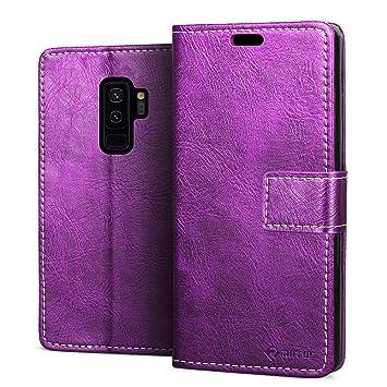 RIFFUE® Funda Samsung Galaxy S9 Plus, Carcasa Libro Piel PU ...